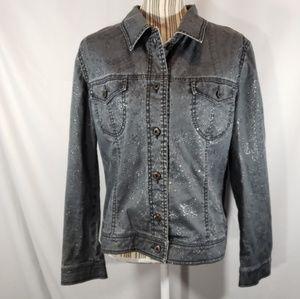 Luisa Cerano Grey w/Metallic Jean Jacket Size 14